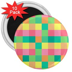 Checkerboard Pastel Squares 3  Magnets (10 Pack)  by Sapixe