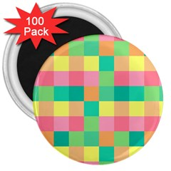 Checkerboard Pastel Squares 3  Magnets (100 Pack) by Sapixe