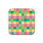 Checkerboard Pastel Squares Rubber Square Coaster (4 pack)  Front