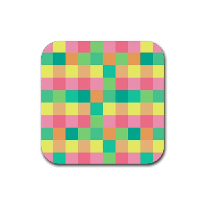 Checkerboard Pastel Squares Rubber Square Coaster (4 pack)