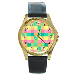Checkerboard Pastel Squares Round Gold Metal Watch