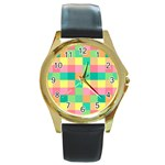 Checkerboard Pastel Squares Round Gold Metal Watch Front