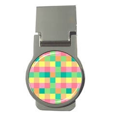 Checkerboard Pastel Squares Money Clips (round)