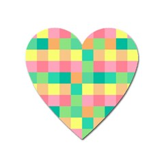 Checkerboard Pastel Squares Heart Magnet by Sapixe