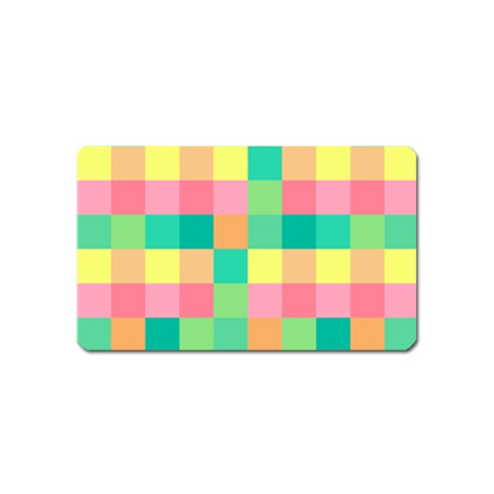 Checkerboard Pastel Squares Magnet (Name Card)