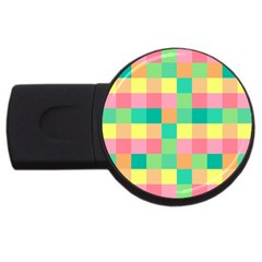 Checkerboard Pastel Squares Usb Flash Drive Round (2 Gb)