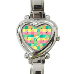 Checkerboard Pastel Squares Heart Italian Charm Watch