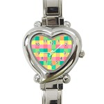 Checkerboard Pastel Squares Heart Italian Charm Watch Front