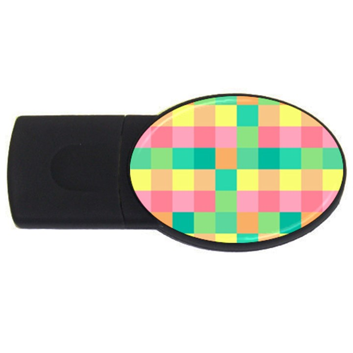 Checkerboard Pastel Squares USB Flash Drive Oval (4 GB)