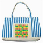 Checkerboard Pastel Squares Striped Blue Tote Bag Front