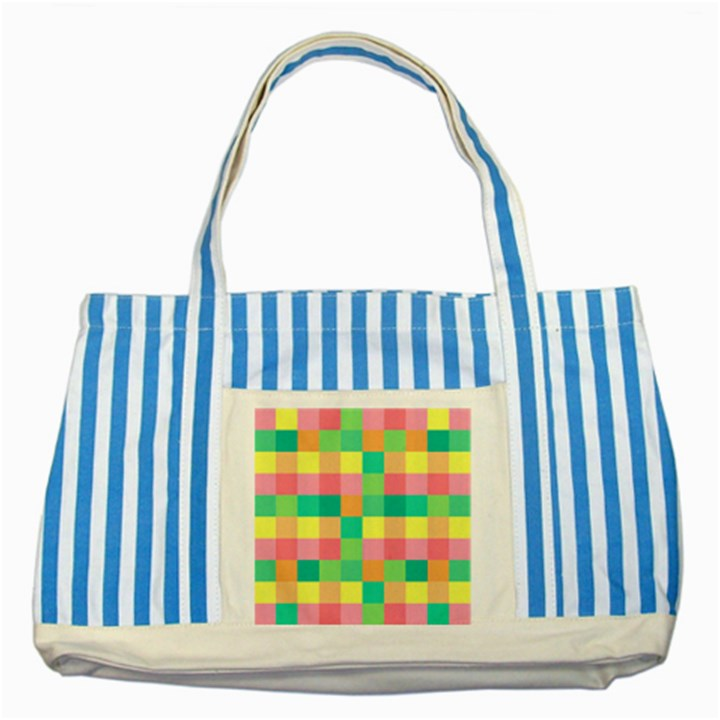 Checkerboard Pastel Squares Striped Blue Tote Bag