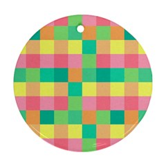 Checkerboard Pastel Squares Round Ornament (two Sides)
