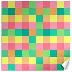 Checkerboard Pastel Squares Canvas 12  X 12  by Sapixe
