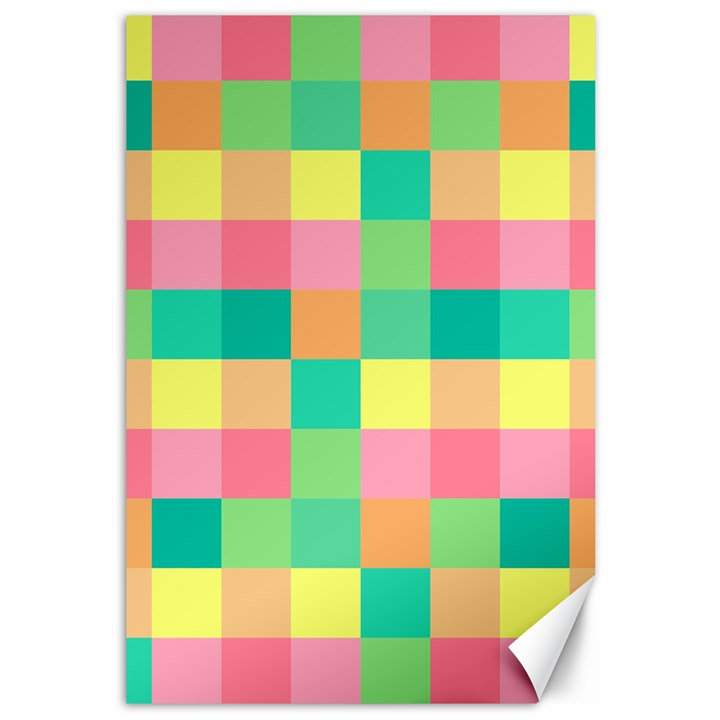 Checkerboard Pastel Squares Canvas 12  x 18