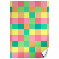Checkerboard Pastel Squares Canvas 20  X 30  by Sapixe