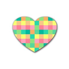 Checkerboard Pastel Squares Heart Coaster (4 Pack)