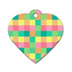 Checkerboard Pastel Squares Dog Tag Heart (One Side) Front