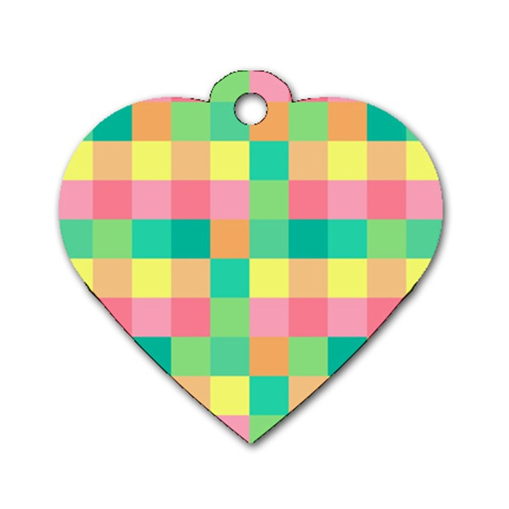 Checkerboard Pastel Squares Dog Tag Heart (One Side)