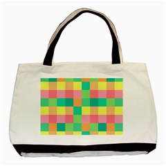 Checkerboard Pastel Squares Basic Tote Bag (two Sides) by Sapixe
