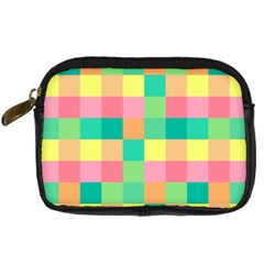 Checkerboard Pastel Squares Digital Camera Leather Case by Sapixe