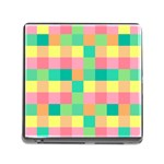 Checkerboard Pastel Squares Memory Card Reader (Square 5 Slot) Front