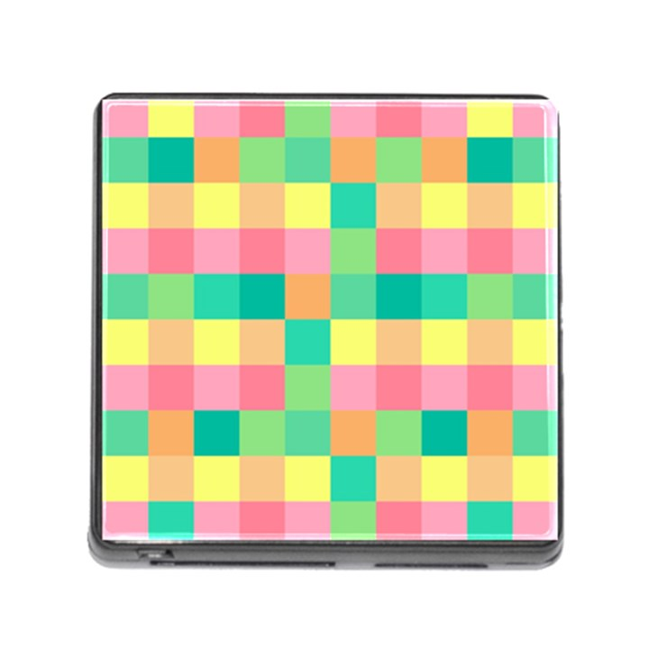 Checkerboard Pastel Squares Memory Card Reader (Square 5 Slot)