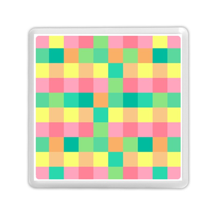 Checkerboard Pastel Squares Memory Card Reader (Square)