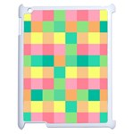 Checkerboard Pastel Squares Apple iPad 2 Case (White) Front