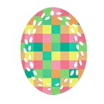 Checkerboard Pastel Squares Oval Filigree Ornament (Two Sides) Front
