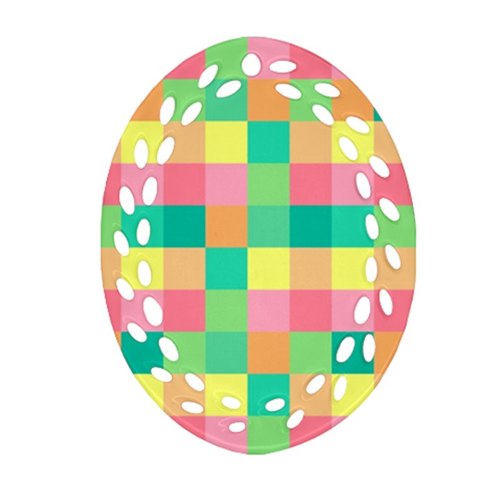 Checkerboard Pastel Squares Oval Filigree Ornament (Two Sides)