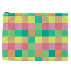 Checkerboard Pastel Squares Cosmetic Bag (xxl)