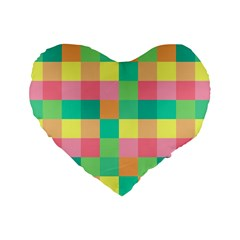 Checkerboard Pastel Squares Standard 16  Premium Heart Shape Cushions