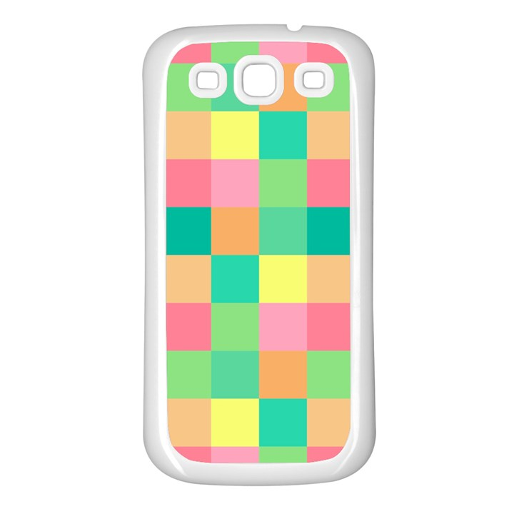 Checkerboard Pastel Squares Samsung Galaxy S3 Back Case (White)