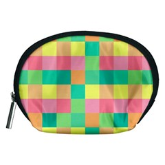 Checkerboard Pastel Squares Accessory Pouch (medium) by Sapixe
