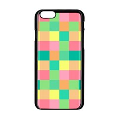 Checkerboard Pastel Squares Iphone 6/6s Black Enamel Case by Sapixe