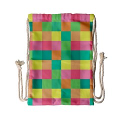 Checkerboard Pastel Squares Drawstring Bag (small)