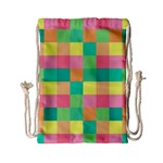 Checkerboard Pastel Squares Drawstring Bag (Small) Back