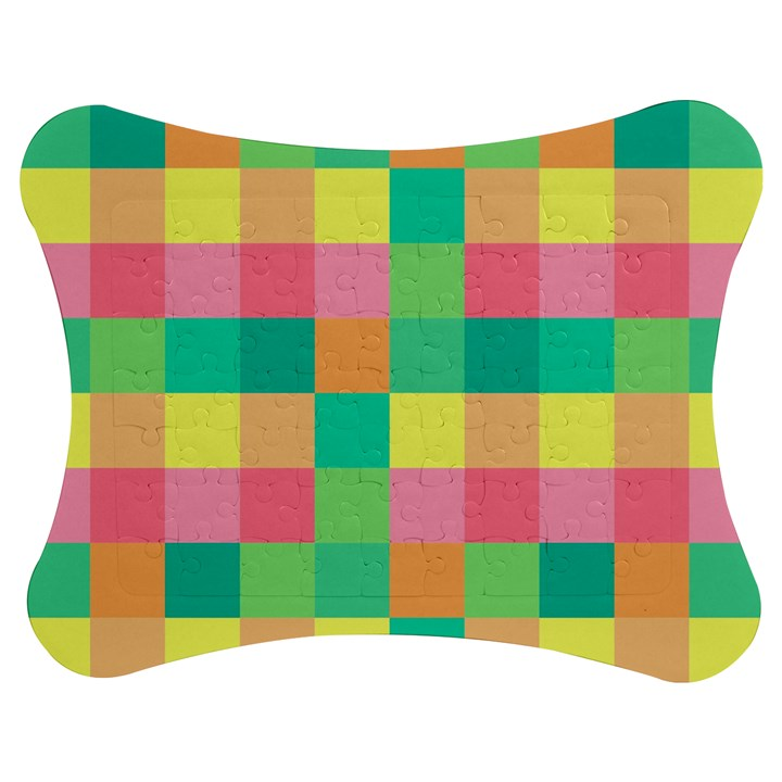 Checkerboard Pastel Squares Jigsaw Puzzle Photo Stand (Bow)