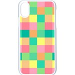 Checkerboard Pastel Squares iPhone X Seamless Case (White) Front