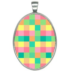 Checkerboard Pastel Squares Oval Necklace