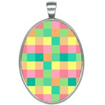 Checkerboard Pastel Squares Oval Necklace Front