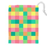 Checkerboard Pastel Squares Drawstring Pouch (XXXL) Front