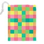 Checkerboard Pastel Squares Drawstring Pouch (XXXL) Back