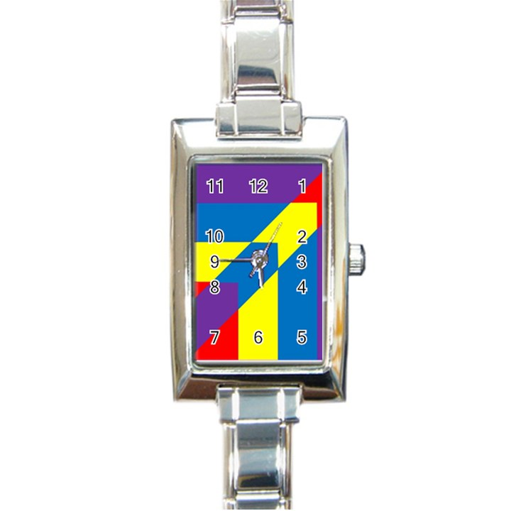 Colorful Red Yellow Blue Purple Rectangle Italian Charm Watch