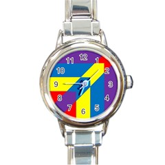 Colorful Red Yellow Blue Purple Round Italian Charm Watch
