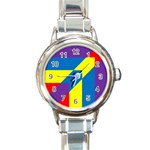 Colorful Red Yellow Blue Purple Round Italian Charm Watch Front