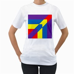 Colorful Red Yellow Blue Purple Women s T Shirt (white) (two Sided)