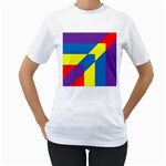 Colorful Red Yellow Blue Purple Women s T-Shirt (White) (Two Sided) Front