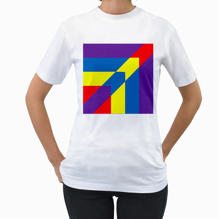 Colorful Red Yellow Blue Purple Women s T-Shirt (White) (Two Sided)