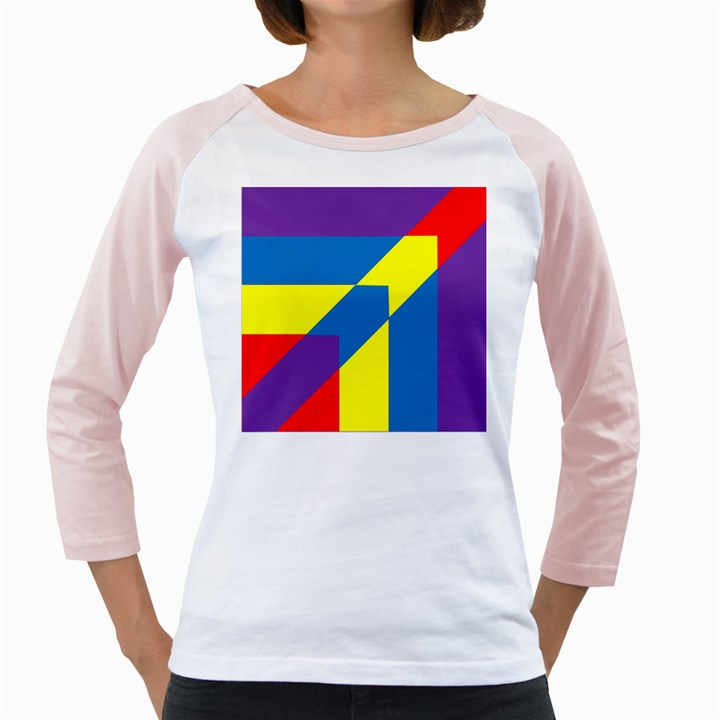 Colorful Red Yellow Blue Purple Girly Raglan